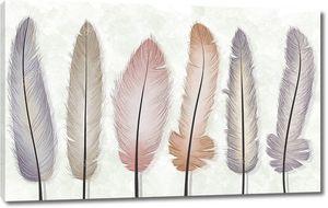 Шесть разноцветных перьев на светлом мраморном фоне