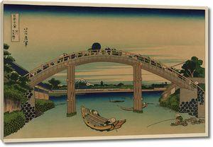 Кацусика Хокусай. Мост Маннэн в Фукугаве