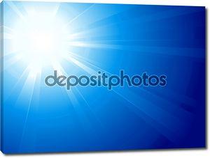Голубое небо с ярким солнцем, света, солнца взрыв