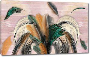 3d иллюстрация, пастельные розовые полосатые фон, большие разноцветные перья