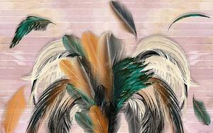 Большие разноцветные перья