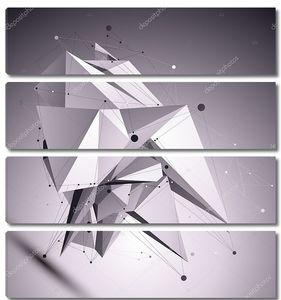 3d современный кибернетический абстрактный фон, оригами футуристический ма