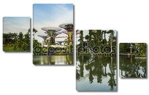 Сингапур сад на берегу залива на Сумерки sky