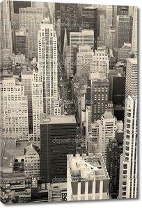 Нью-Йорк Манхэттен вид с воздуха черно-белый