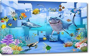 Акула на фоне кубов