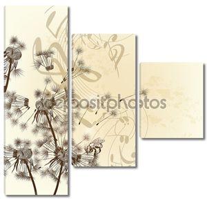 цветочный фон вектор с одуванчиками и примечания