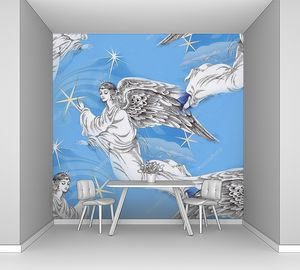 Ангелы на фоне голубого неба