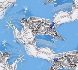 Ангелы в небе Рождество