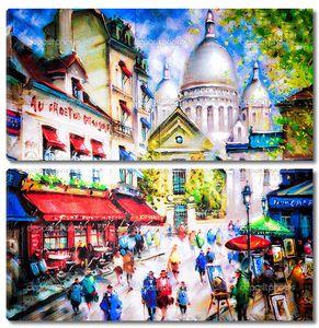 Красочная картина Сакре-Кер и Монмартр в Париже