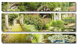 Прекрасный зеленый сад с беседкой