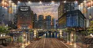 Вид из кафе на ночной город