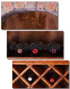 Бутылки вина, хранящиеся в полки