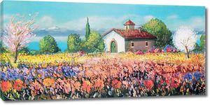 Прекрасные цветочные поля рядом с фермой