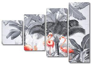 Фламинго под монохромными пальмами