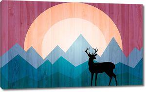 Черный олень на фоне цветных гор