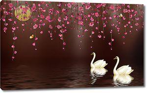 Лебеди под луной