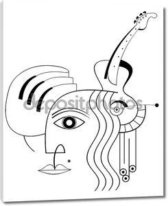 Фортепиано, гитара и лицо