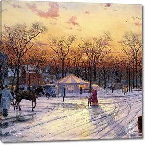 Фреска с зимним городским пейзажем