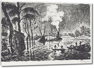 Поль Синьяк. Гравюра Затопленная Сена