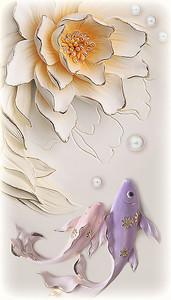Рыбки с водяной лилией