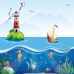 Маяк и парусник. на морском дне, и смешные рыбы