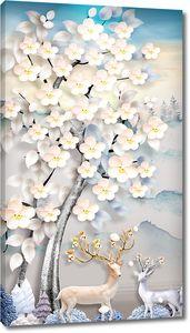 Фигурки оленей под цветущим деревом