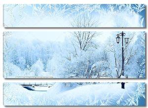 зимний фон, пейзаж. зимние деревья в стране чудес. зимняя сцена. рождество, новогодний фон