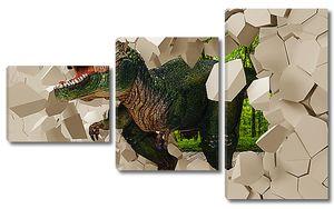 Динозавр разрушает стену