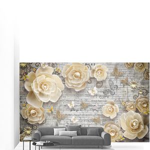 Объемные цветы разбросанные по кирпичной стене