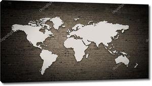 Карта мира на бетонной стене