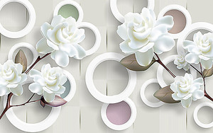 Кустовая роза с кругами на бересте
