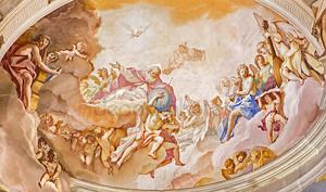 Падуя, Италия - 8 сентября 2014: Отец вечности. Фреска на главной апсиды базилика ди Санта Джустина, Себастьяно Риччи (1700)