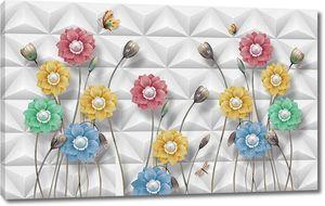 Черепичный фон, различные красочные цветы