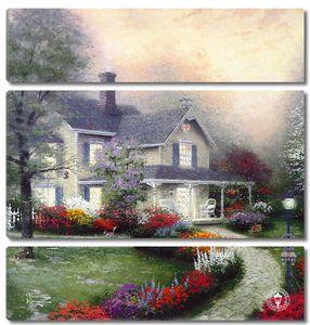 Фреска с прекрасным домом с цветочным садом