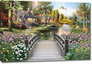 Вид на дома у реки с мостика
