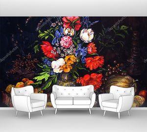 Плоды и цветы гуашью