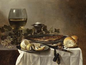 Питер Клас III – Натюрморт с селедкой, хлебом и бокалом с вином