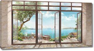 Панорама моря из открытого окна