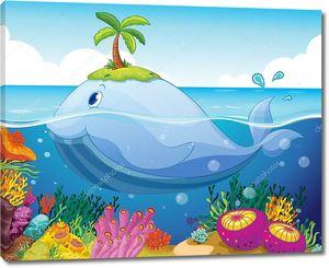 рыба, остров и кораллов в море