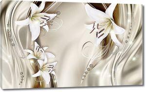 Белые лилии на ткани