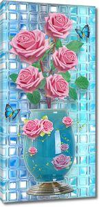 Розы в голубой вазе