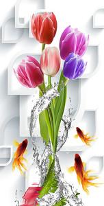 Тюльпаны в брызгах воды