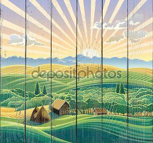 Сельский пейзаж с хижина