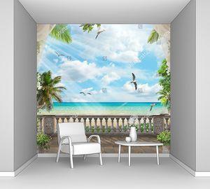 Терраса с видом на море и чаек