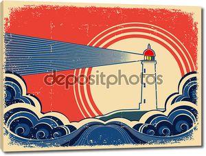Маяк с синим морем.Гранж-фон