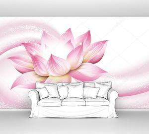 Цветочный фон лотос с розовой волной