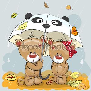 Два медведя под зонтиком