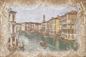 Старинная фреска в рамке с видом на канал в Венеции
