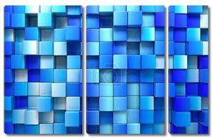 Сине-голубые кубики, 3D фон