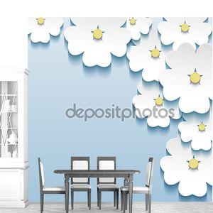 сине - серый цветочные абстрактный фон, 3d цветы сакуры